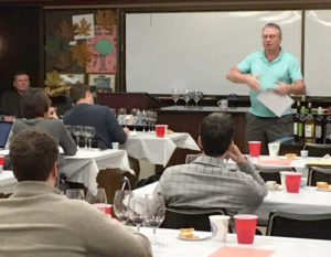 Dave Barber at Santa Rosa Junior College instructs on wine judging protocols.
